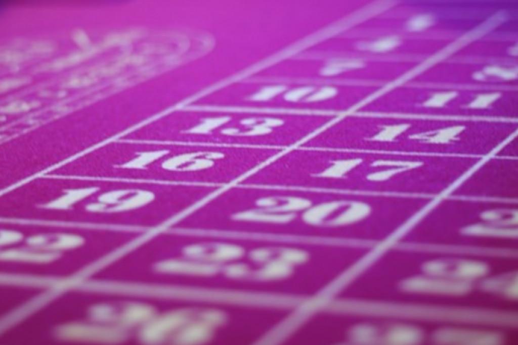 blåt roulette bord